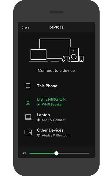 Mobile phone playing track on Spotify